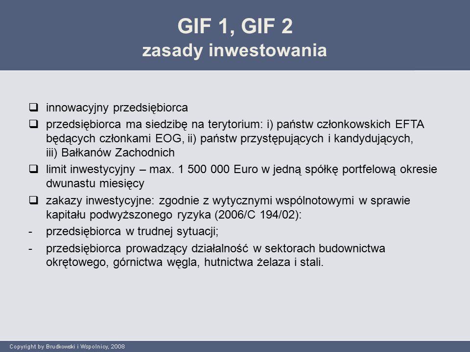 GIF 1, GIF 2 zasady inwestowania  innowacyjny przedsiębiorca  przedsiębiorca ma siedzibę na terytorium: i) państw członkowskich EFTA będących członkami EOG, ii) państw przystępujących i kandydujących, iii) Bałkanów Zachodnich  limit inwestycyjny – max.