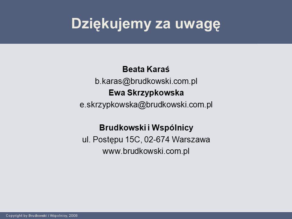 Beata Karaś b.karas@brudkowski.com.pl Ewa Skrzypkowska e.skrzypkowska@brudkowski.com.pl Brudkowski i Wspólnicy ul.