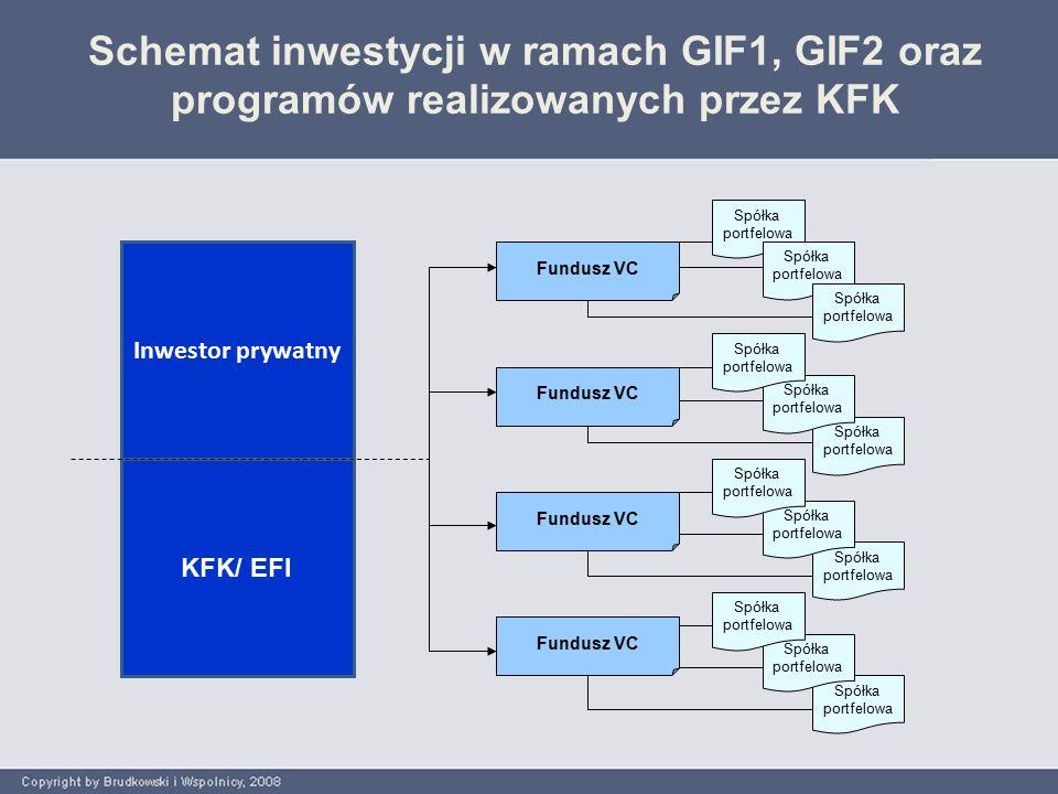 Schemat inwestycji w ramach GIF1, GIF2 oraz programów realizowanych przez KFK Inwestor prywatny Fundusz VC KFK/ EFI Spółka portfelowa Spółka portfelowa Spółka portfelowa Spółka portfelowa Spółka portfelowa Spółka portfelowa Spółka portfelowa Spółka portfelowa Spółka portfelowa Spółka portfelowa Spółka portfelowa Spółka portfelowa