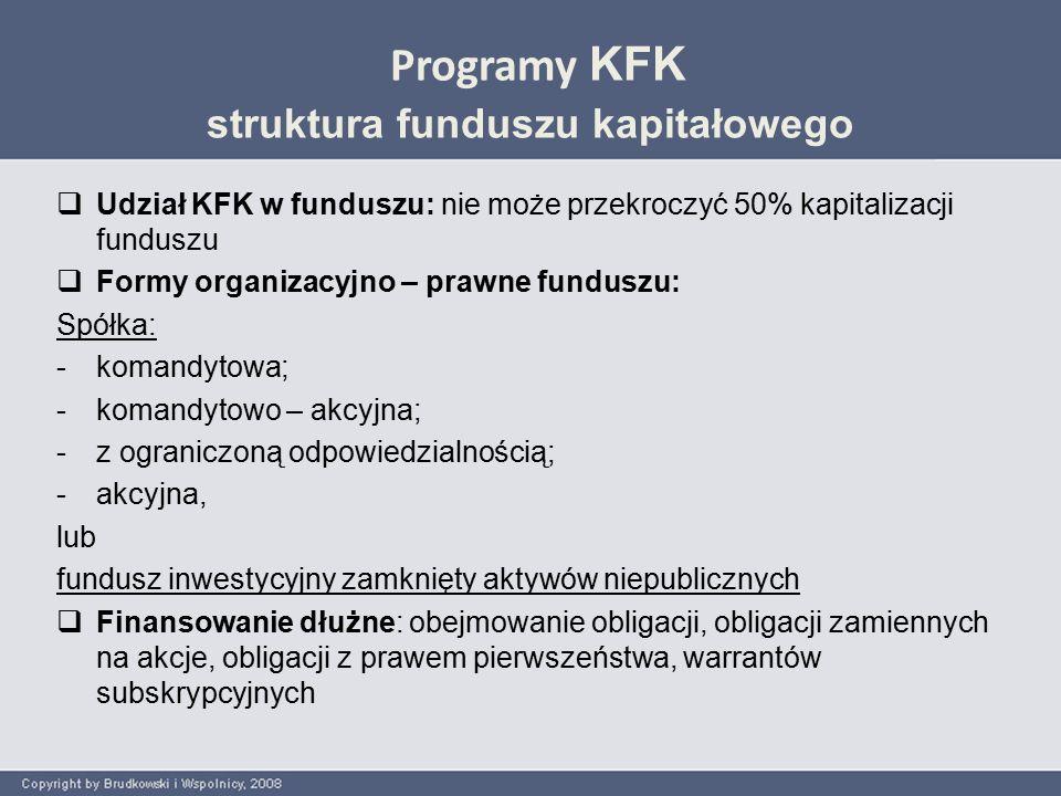 Programy KFK struktura funduszu kapitałowego  Wniesienie wkładów do funduszu: KFK dokonuje wpłaty wkładu nie wcześniej niż w dniu zrealizowania wpłat do funduszu przez wszystkich inwestorów  Preferencje dla inwestorów prywatnych Wpływy z zakończenia inwestycji funduszu będą wypłacane w następującej kolejności: 1) inwestorom funduszu aż do momentu otrzymania kwot równych sumie dokonanych wpłat; 2) KFK, aż do momentu otrzymania kwoty równej udzielonemu wsparciu; 3) inwestorom funduszu, aż do momentu otrzymania stopy zwrotu w wysokości wskazanej w umowie inwestycyjnej; 4) KFK, aż do momentu otrzymania stopy zwrotu, określonej w umowie inwestycyjnej; 5) następnie, środki będą dzielone pomiędzy osoby lub podmiot zarządzający funduszem, inwestorów funduszu i KFK zgodnie z umową inwestycyjną.
