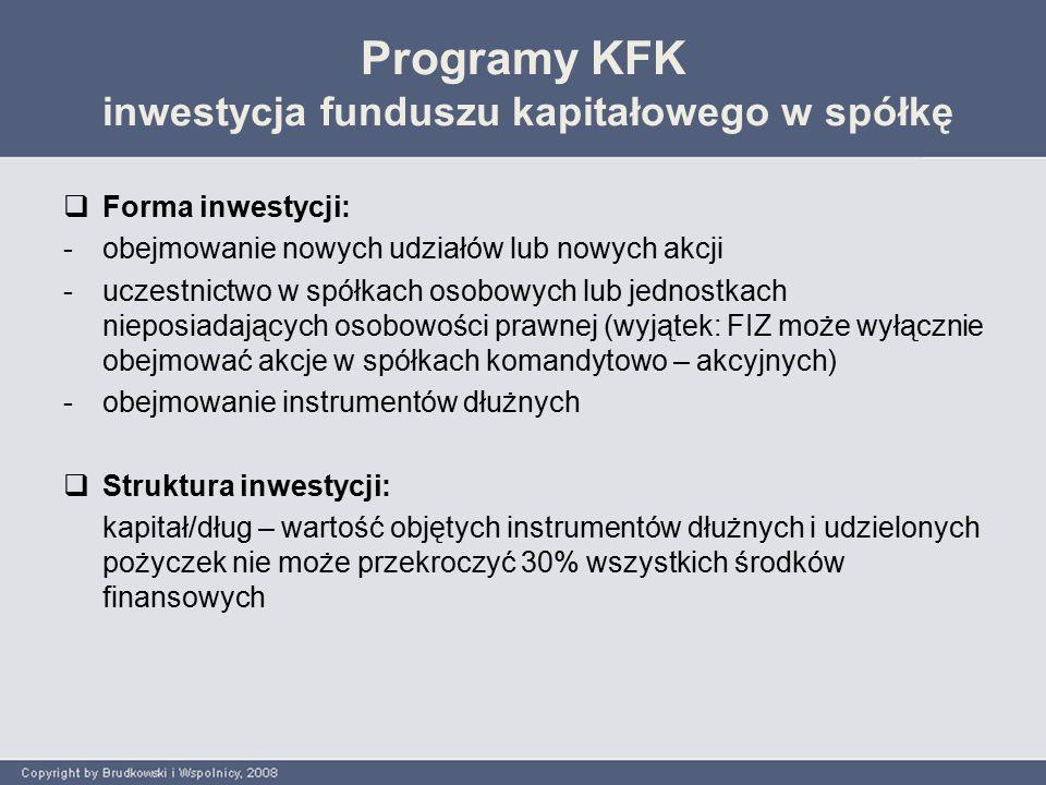 Programy KFK inwestycja funduszu kapitałowego w spółkę  Forma inwestycji: -obejmowanie nowych udziałów lub nowych akcji -uczestnictwo w spółkach osobowych lub jednostkach nieposiadających osobowości prawnej (wyjątek: FIZ może wyłącznie obejmować akcje w spółkach komandytowo – akcyjnych) -obejmowanie instrumentów dłużnych  Struktura inwestycji: kapitał/dług – wartość objętych instrumentów dłużnych i udzielonych pożyczek nie może przekroczyć 30% wszystkich środków finansowych