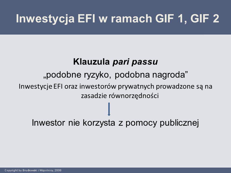 Inwestycja fundszu w ramach GIF 1, GIF 2 GIF 1GIF 2  innowacyjne MSP  fundusz udostępnia długoterminowy kapitał udziałowy lub quasi-udziałowy  fundusz inwestuje w MSP będących w fazie zalążkowej lub w fazie startu – fundusz nie dokonuje transakcji w MSP w fazie od średniej do późnej (przed pierwszą ofertą publiczną lub wykupem menedżerskim (MBO i MBI) ani na refinansowaniu  innowacyjne MSP o wysokim potencjale wzrostu w fazie ich ekspansji z  fundusz udostępnia kapitał quasi- udziałowy lub udziałowy z uniknięciem wykupu udziałów kontrolnych (buy-out) lub refinansowania służącego wyprzedaży aktywów nabywanego przedsiębiorstwa (asset stripping)