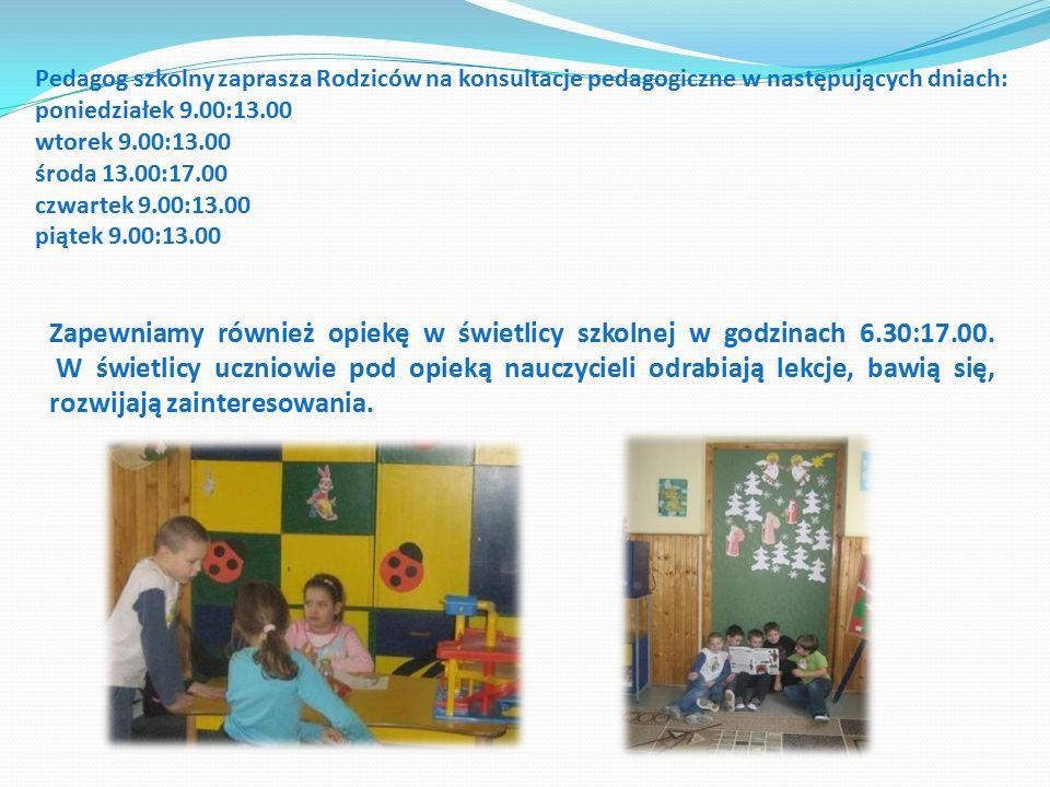 Zapewniamy również opiekę w świetlicy szkolnej w godzinach 6.30:17.00.