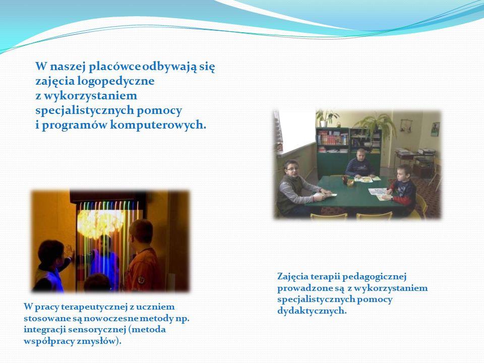 W naszej placówce odbywają się zajęcia logopedyczne z wykorzystaniem specjalistycznych pomocy i programów komputerowych.