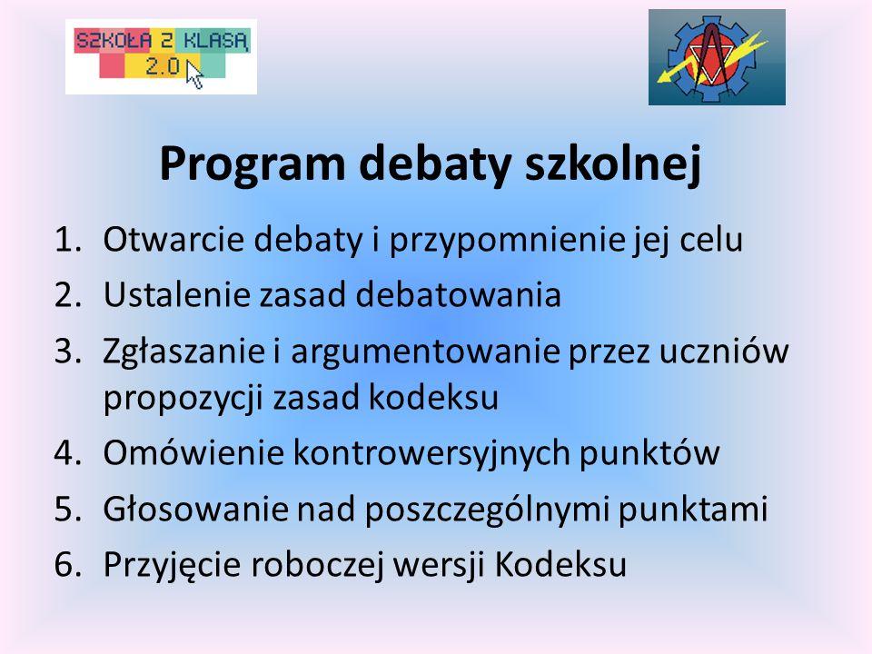 Program debaty szkolnej 1.Otwarcie debaty i przypomnienie jej celu 2.Ustalenie zasad debatowania 3.Zgłaszanie i argumentowanie przez uczniów propozycj