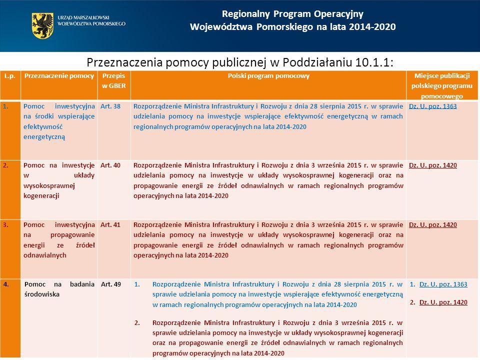 Regionalny Program Operacyjny Województwa Pomorskiego na lata 2014-2020 Przeznaczenia pomocy publicznej w Poddziałaniu 10.1.1: L.p.Przeznaczenie pomoc