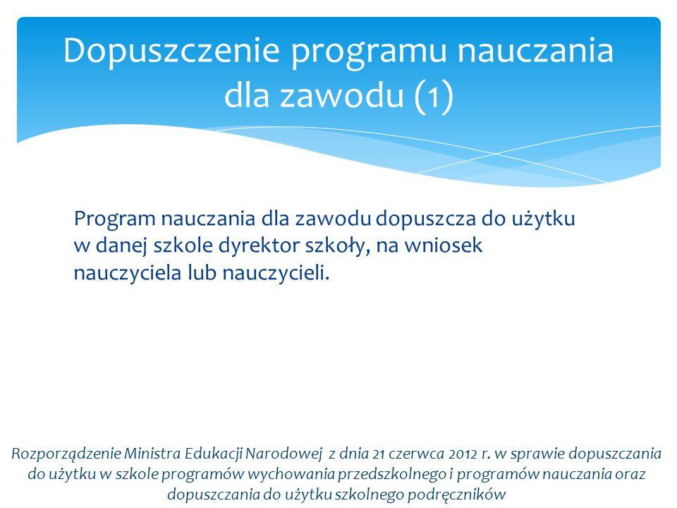 Program nauczania dla zawodu dopuszcza do użytku w danej szkole dyrektor szkoły, na wniosek nauczyciela lub nauczycieli. Dopuszczenie programu nauczan