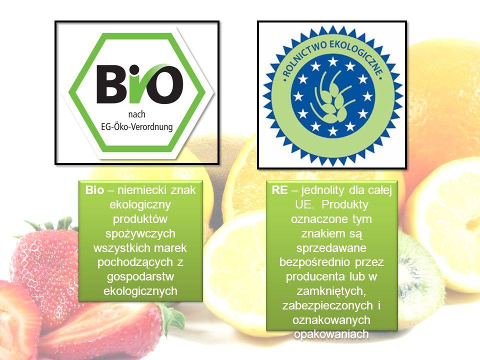 Bio – niemiecki znak ekologiczny produktów spożywczych wszystkich marek pochodzących z gospodarstw ekologicznych RE – jednolity dla całej UE. Produkty