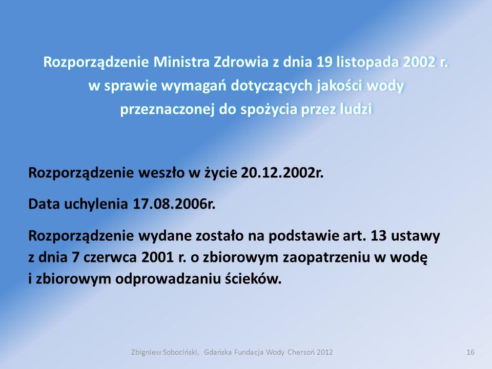 16 Rozporządzenie Ministra Zdrowia z dnia 19 listopada 2002 r.