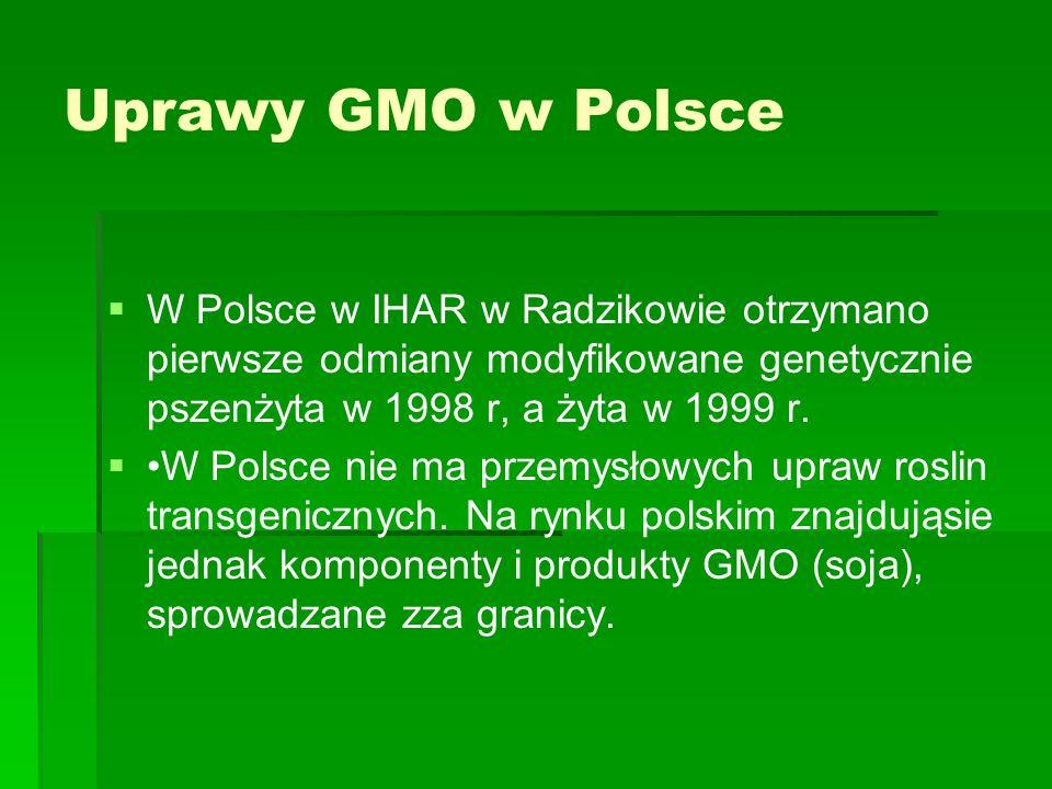 Uprawy GMO w Polsce   W Polsce w IHAR w Radzikowie otrzymano pierwsze odmiany modyfikowane genetycznie pszenżyta w 1998 r, a żyta w 1999 r.   W Po