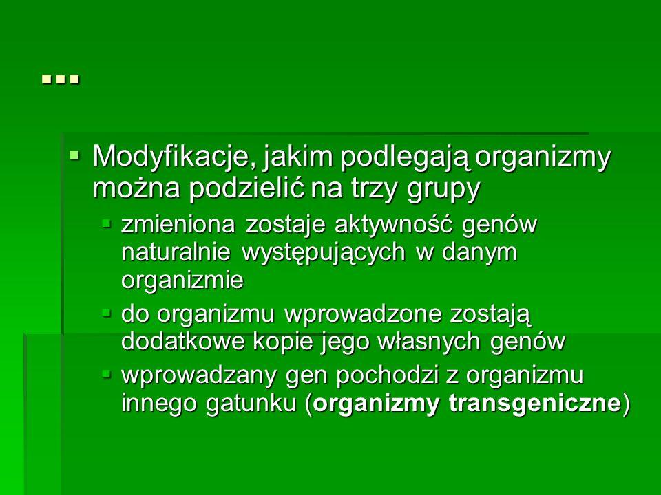 ...  Modyfikacje, jakim podlegają organizmy można podzielić na trzy grupy  zmieniona zostaje aktywność genów naturalnie występujących w danym organi