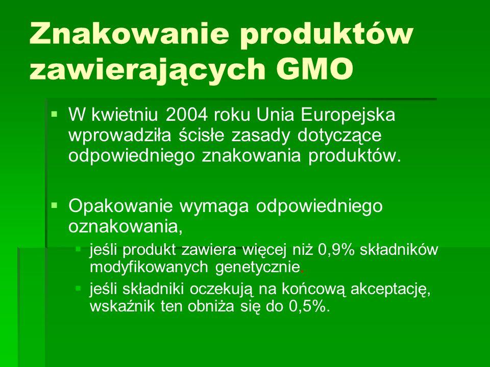   W kwietniu 2004 roku Unia Europejska wprowadziła ścisłe zasady dotyczące odpowiedniego znakowania produktów.