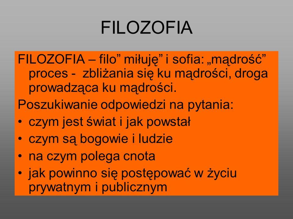 """FILOZOFIA FILOZOFIA – filo miłuję i sofia: """"mądrość proces - zbliżania się ku mądrości, droga prowadząca ku mądrości."""