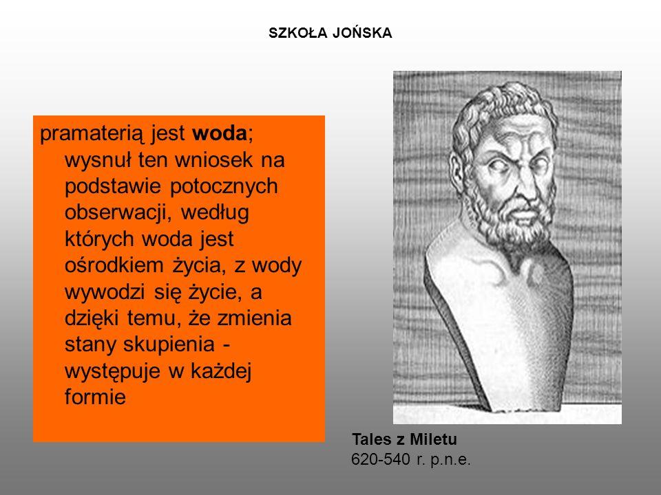 SZKOŁA JOŃSKA pramaterią jest woda; wysnuł ten wniosek na podstawie potocznych obserwacji, według których woda jest ośrodkiem życia, z wody wywodzi się życie, a dzięki temu, że zmienia stany skupienia - występuje w każdej formie Tales z Miletu 620-540 r.