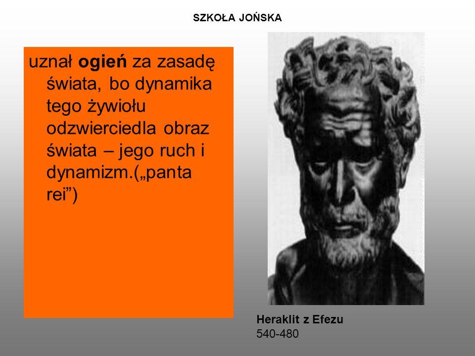 """SZKOŁA JOŃSKA uznał ogień za zasadę świata, bo dynamika tego żywiołu odzwierciedla obraz świata – jego ruch i dynamizm.(""""panta rei ) Heraklit z Efezu 540-480"""