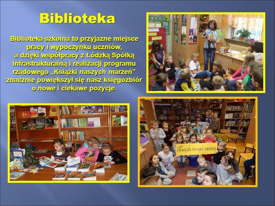 """Biblioteka szkolna to przyjazne miejsce pracy i wypoczynku uczniów, a dzięki współpracy z Łódzką Spółką Infrastrukturalną i realizacji programu rządowego """"Książki naszych marzeń znacznie powiększył się nasz księgozbiór o nowe i ciekawe pozycje."""