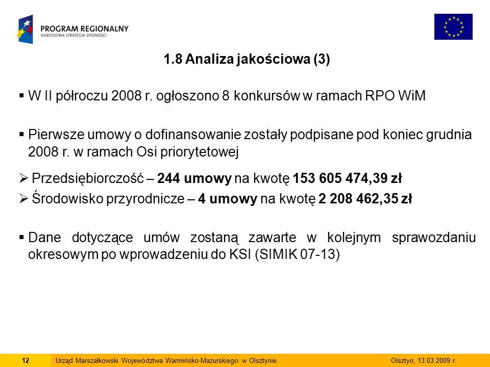 12Urząd Marszałkowski Województwa Warmińsko-Mazurskiego w Olsztynie Olsztyn, 13.03.2009 r. 1.8 Analiza jakościowa (3)  W II półroczu 2008 r. ogłoszon