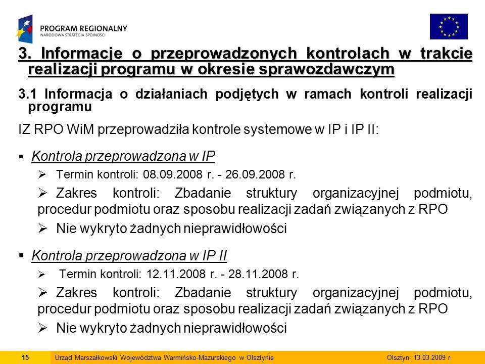 3. Informacje o przeprowadzonych kontrolach w trakcie realizacji programu w okresie sprawozdawczym 3.1 Informacja o działaniach podjętych w ramach kon