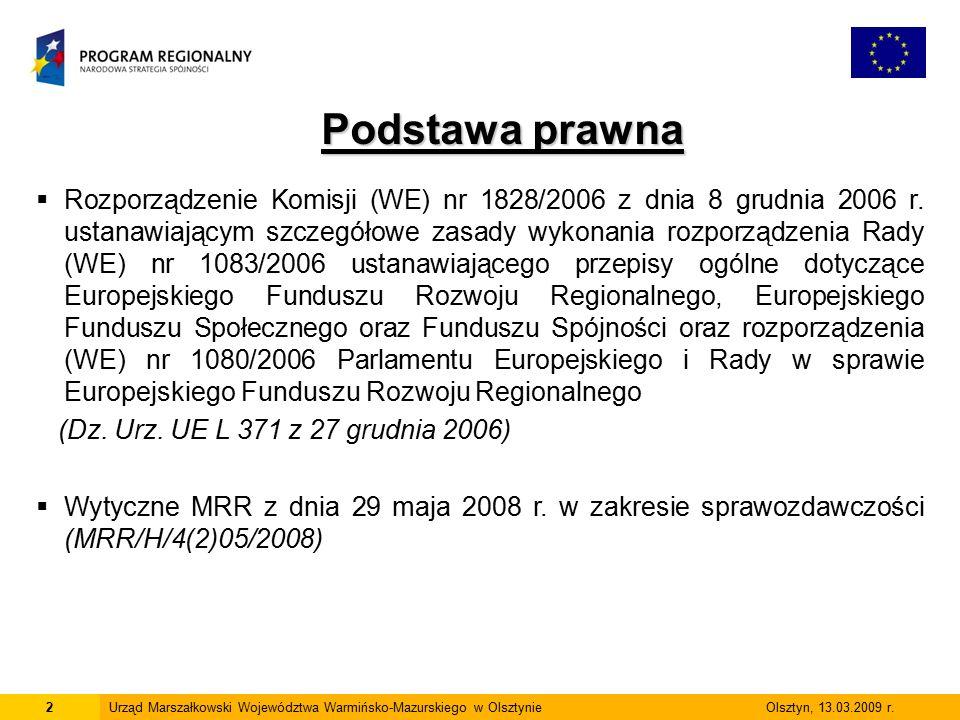 2Urząd Marszałkowski Województwa Warmińsko-Mazurskiego w Olsztynie Olsztyn, 13.03.2009 r. Podstawa prawna  Rozporządzenie Komisji (WE) nr 1828/2006 z