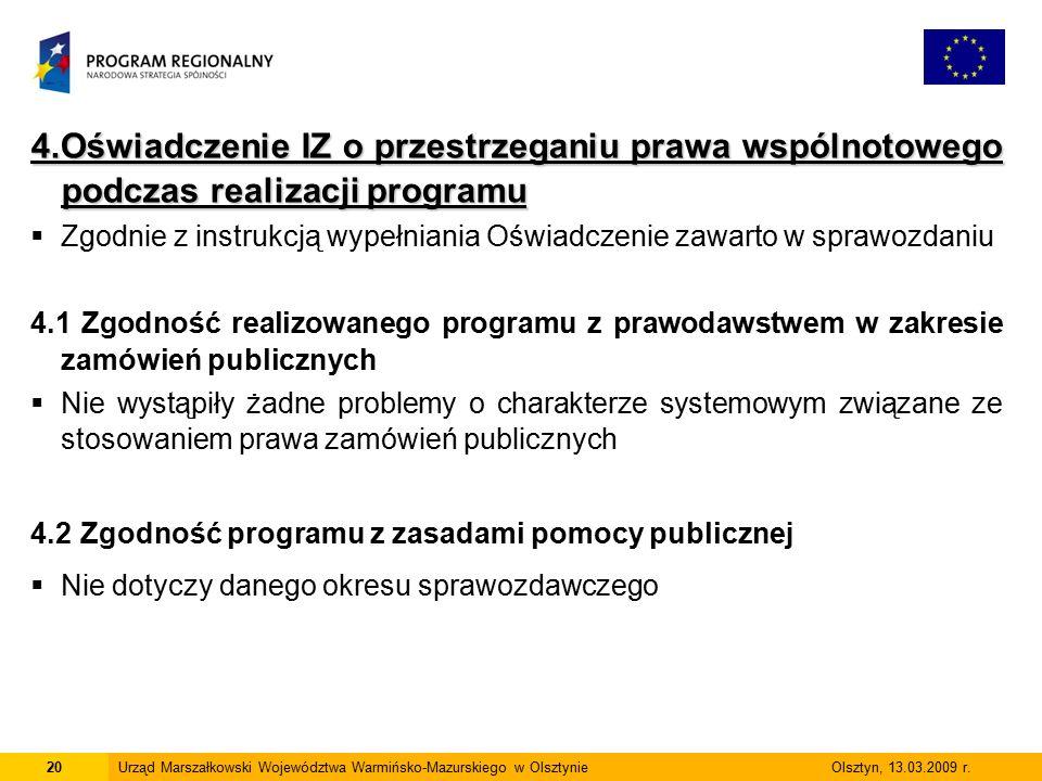 4.Oświadczenie IZ o przestrzeganiu prawa wspólnotowego podczas realizacji programu  Zgodnie z instrukcją wypełniania Oświadczenie zawarto w sprawozda