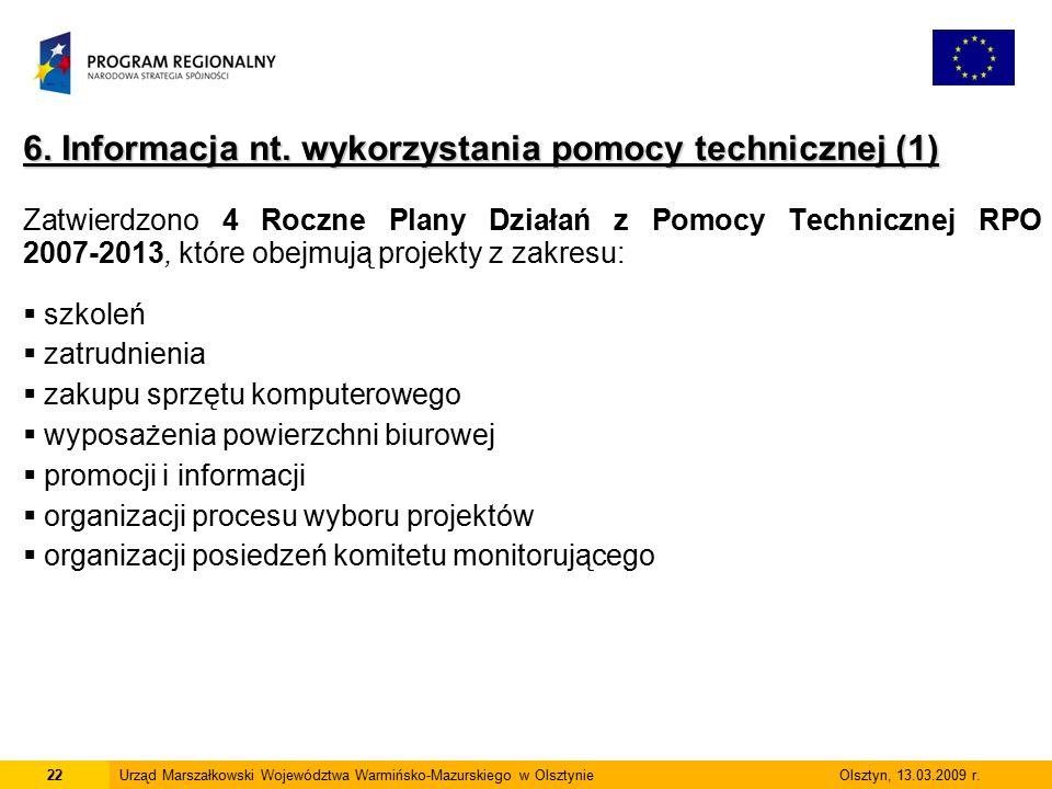 6. Informacja nt. wykorzystania pomocy technicznej (1) Zatwierdzono 4 Roczne Plany Działań z Pomocy Technicznej RPO 2007-2013, które obejmują projekty