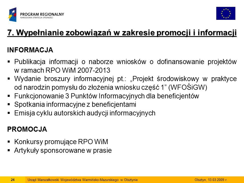 24Urząd Marszałkowski Województwa Warmińsko-Mazurskiego w Olsztynie Olsztyn, 13.03.2009 r. 7. Wypełnianie zobowiązań w zakresie promocji i informacji