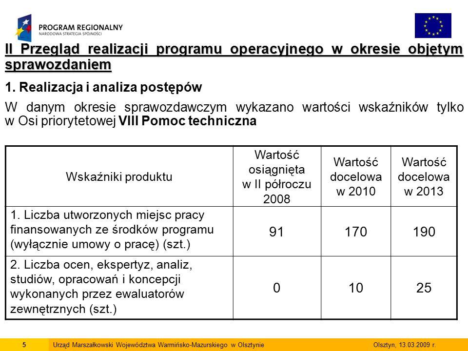 6Urząd Marszałkowski Województwa Warmińsko-Mazurskiego w Olsztynie Olsztyn, 13.03.2009 r.