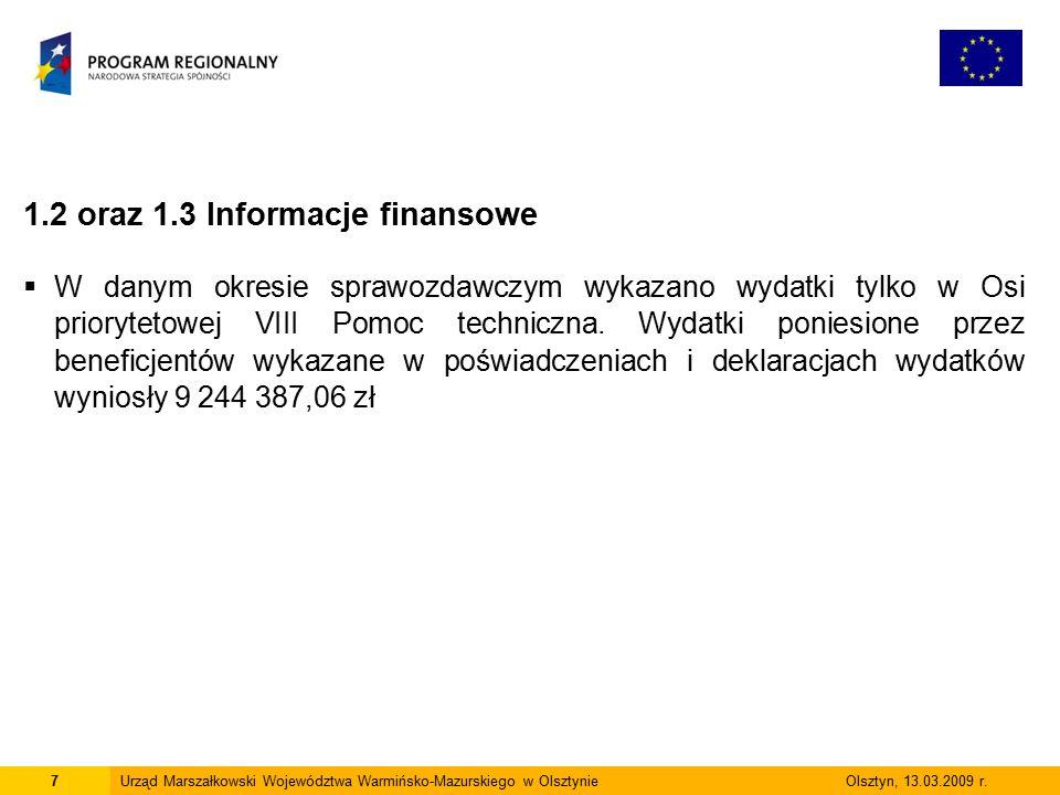 7Urząd Marszałkowski Województwa Warmińsko-Mazurskiego w Olsztynie Olsztyn, 13.03.2009 r. 1.2 oraz 1.3 Informacje finansowe  W danym okresie sprawozd