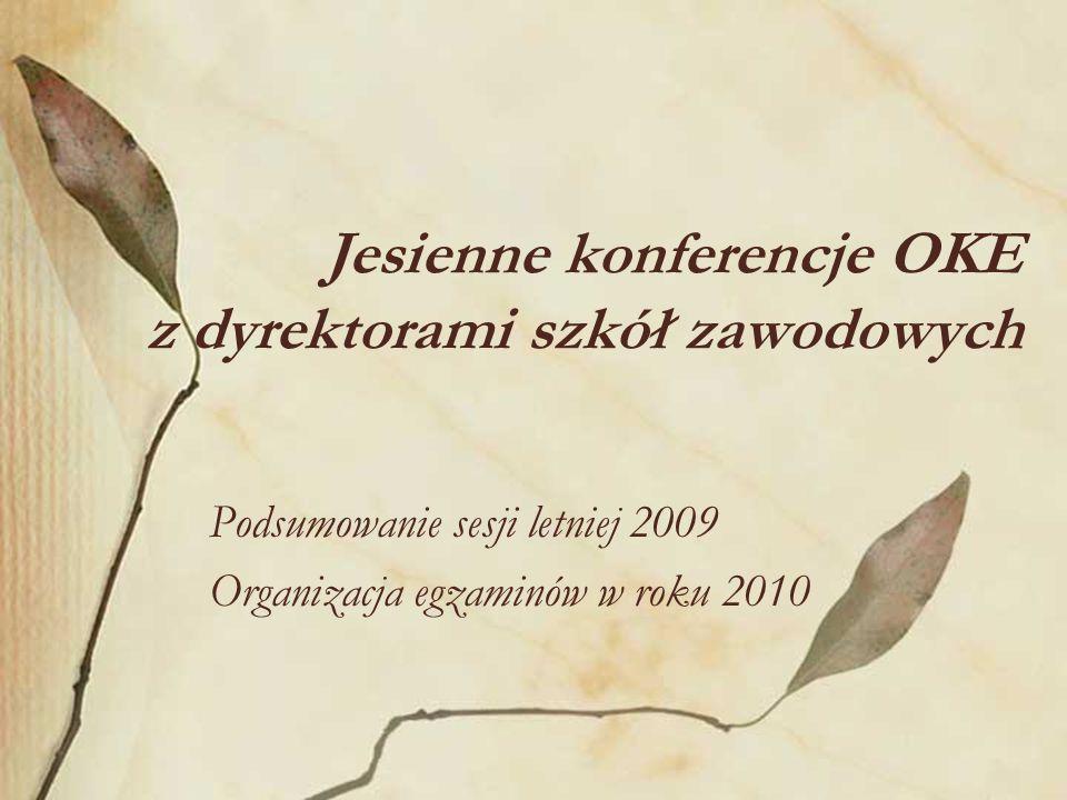 Jesienne konferencje OKE z dyrektorami szkół zawodowych Podsumowanie sesji letniej 2009 Organizacja egzaminów w roku 2010
