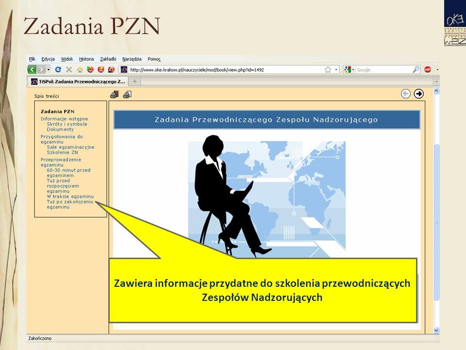 Zadania PZN Zawiera informacje przydatne do szkolenia przewodniczących Zespołów Nadzorujących