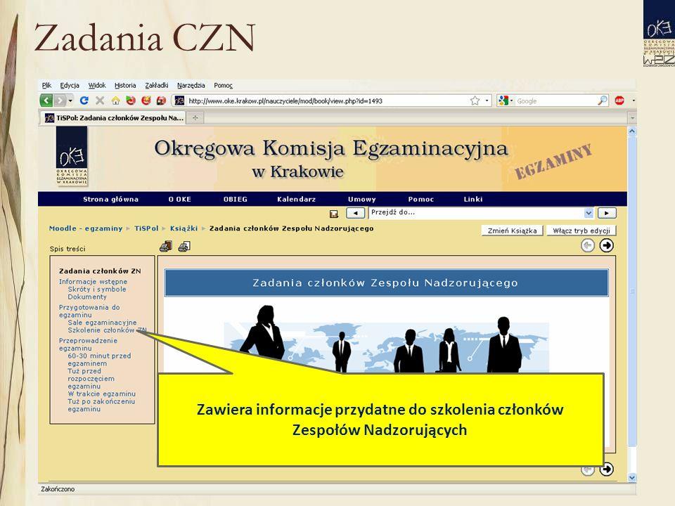 Zadania CZN Zawiera informacje przydatne do szkolenia członków Zespołów Nadzorujących