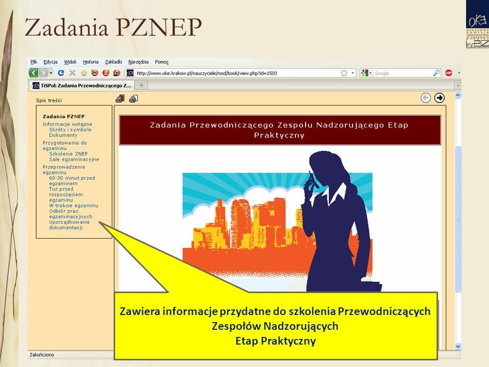 Zadania PZNEP Zawiera informacje przydatne do szkolenia Przewodniczących Zespołów Nadzorujących Etap Praktyczny