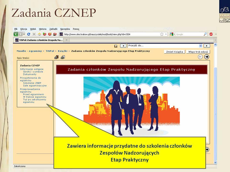 Zadania CZNEP Zawiera informacje przydatne do szkolenia członków Zespołów Nadzorujących Etap Praktyczny