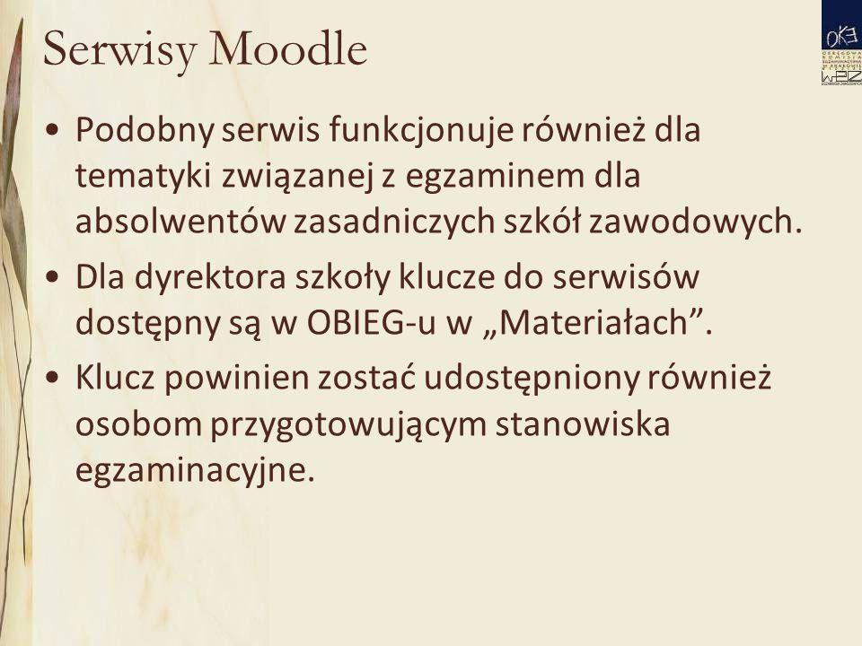 Serwisy Moodle Podobny serwis funkcjonuje również dla tematyki związanej z egzaminem dla absolwentów zasadniczych szkół zawodowych.