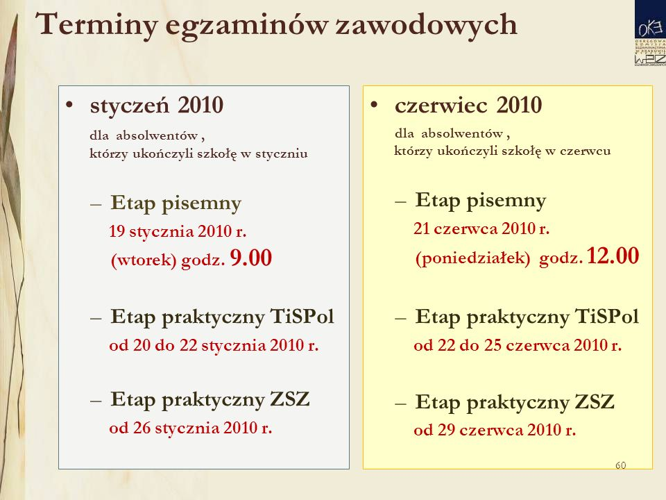 Terminy egzaminów zawodowych styczeń 2010 dla absolwentów, którzy ukończyli szkołę w styczniu –Etap pisemny 19 stycznia 2010 r.