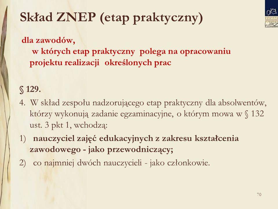 70 Skład ZNEP (etap praktyczny) dla zawodów, w których etap praktyczny polega na opracowaniu projektu realizacji określonych prac § 129.