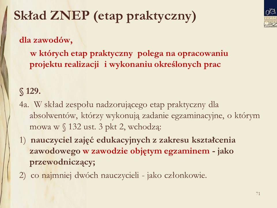 71 Skład ZNEP (etap praktyczny) dla zawodów, w których etap praktyczny polega na opracowaniu projektu realizacji i wykonaniu określonych prac § 129.