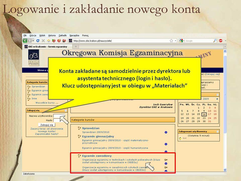 Logowanie i zakładanie nowego konta Konta zakładane są samodzielnie przez dyrektora lub asystenta technicznego (login i hasło).