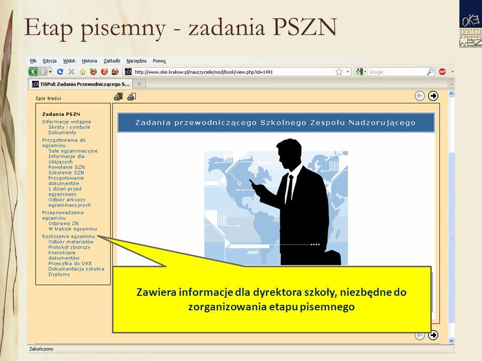 Etap pisemny - zadania PSZN Zawiera informacje dla dyrektora szkoły, niezbędne do zorganizowania etapu pisemnego