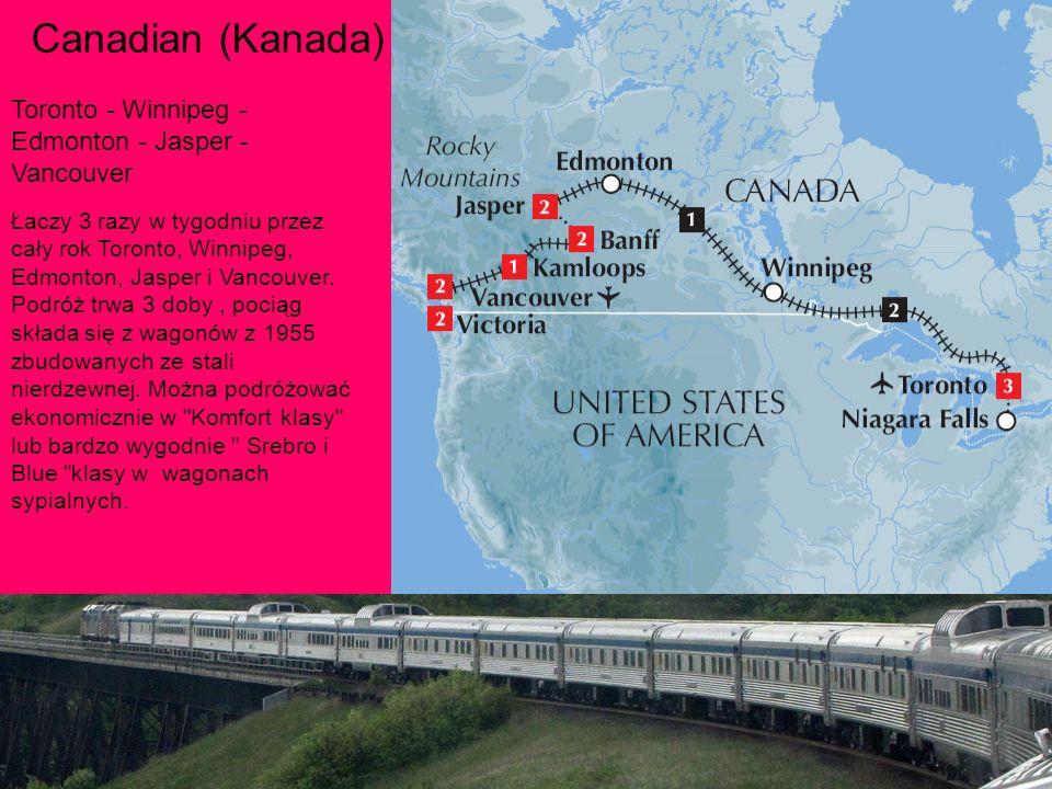 Łaczy 3 razy w tygodniu przez cały rok Toronto, Winnipeg, Edmonton, Jasper i Vancouver.
