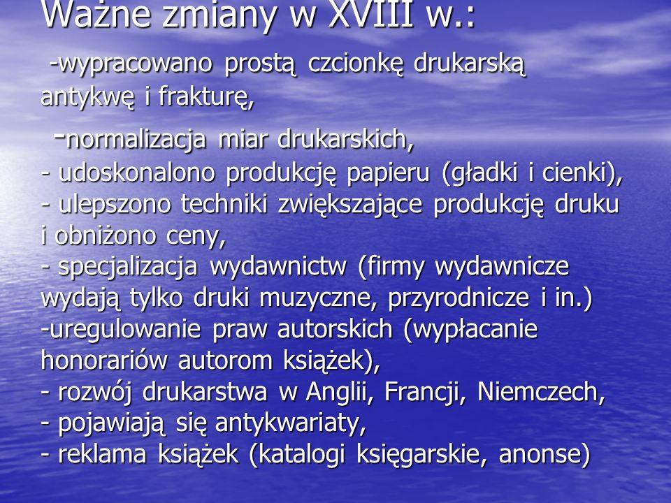 Książka w Polsce w XVIIIw.Książka w Polsce w XVIIIw.