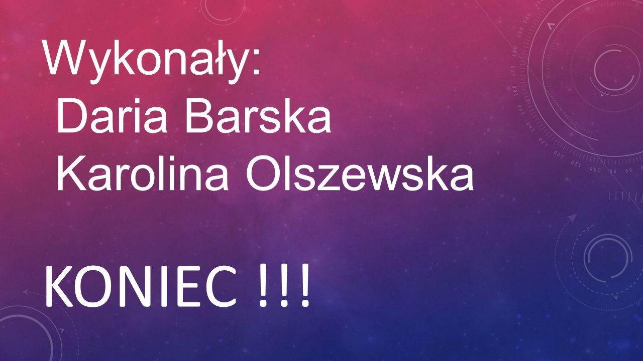 Wykonały: Daria Barska Karolina Olszewska KONIEC !!!