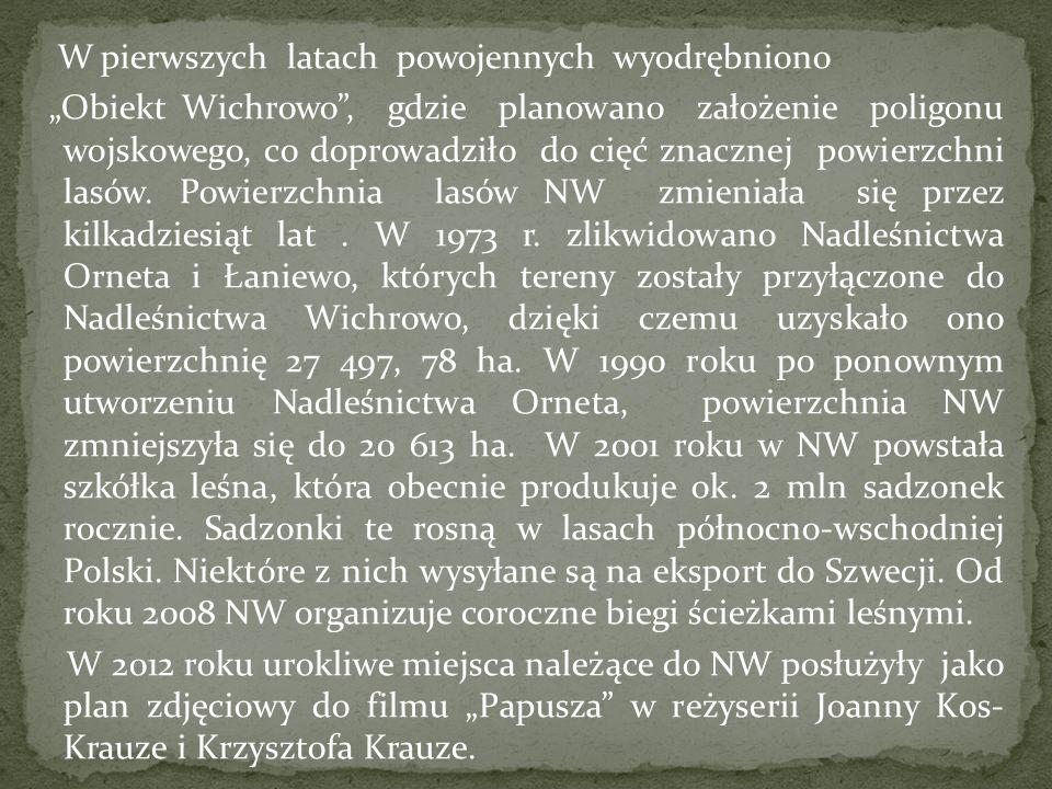 """W pierwszych latach powojennych wyodrębniono """"Obiekt Wichrowo , gdzie planowano założenie poligonu wojskowego, co doprowadziło do cięć znacznej powierzchni lasów."""