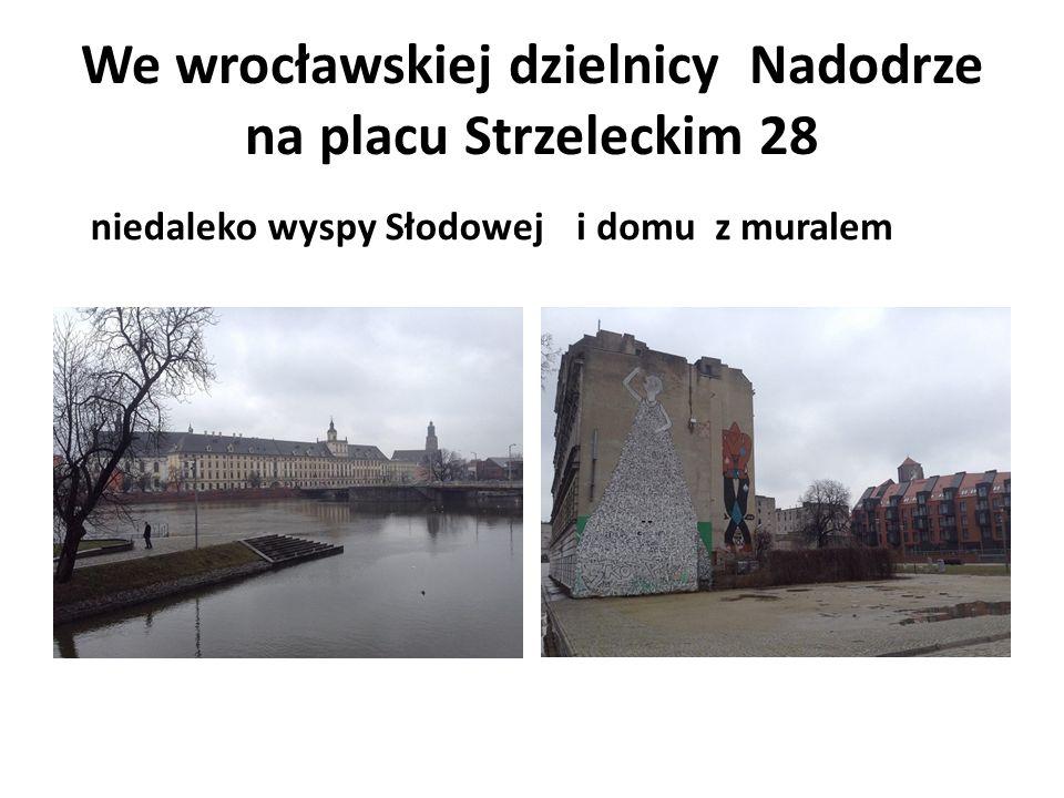 We wrocławskiej dzielnicy Nadodrze na placu Strzeleckim 28 niedaleko wyspy Słodoweji domu z muralem