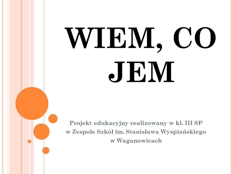 WIEM, CO JEM Projekt edukacyjny realizowany w kl. III SP w Zespole Szkół im.