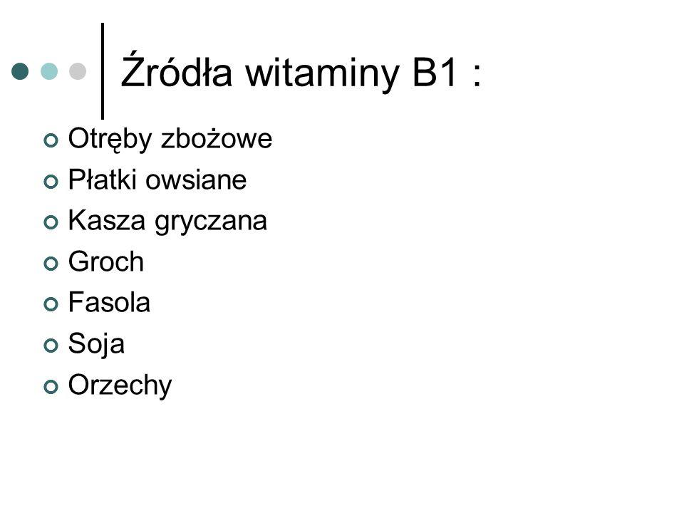 Rola witaminy B1 : odgrywa zasadniczą rolę w procesach oddychania tkankowego, głównie w przemianie węglowodanów.
