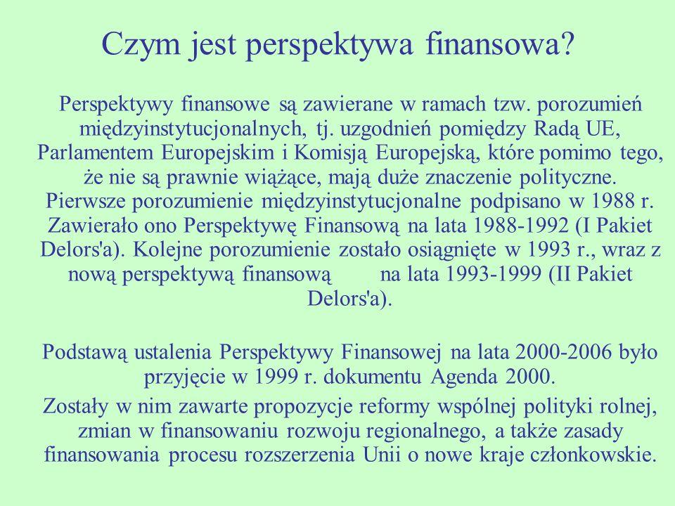 Czym jest perspektywa finansowa? Perspektywy finansowe są zawierane w ramach tzw. porozumień międzyinstytucjonalnych, tj. uzgodnień pomiędzy Radą UE,