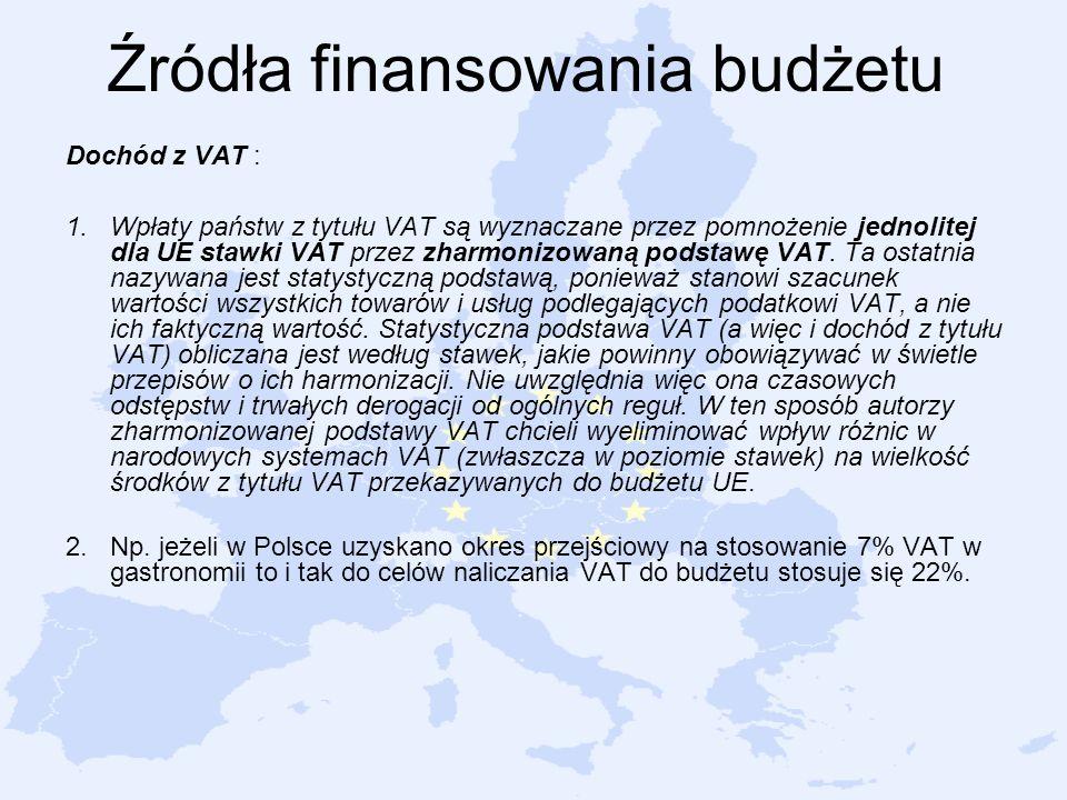 Źródła finansowania budżetu Dochód z VAT : 1.Wpłaty państw z tytułu VAT są wyznaczane przez pomnożenie jednolitej dla UE stawki VAT przez zharmonizowaną podstawę VAT.