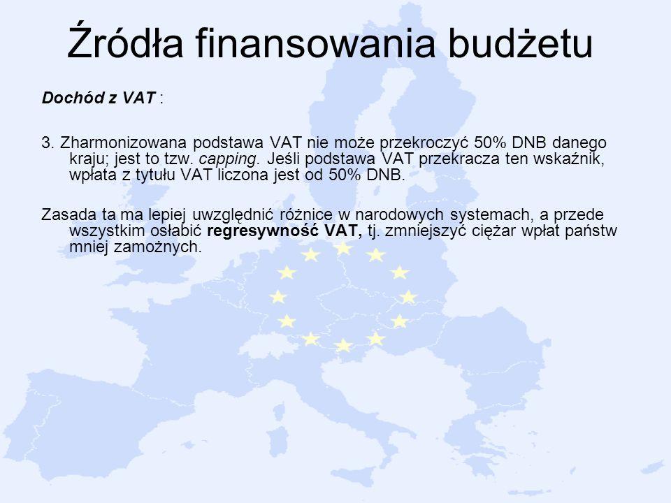 Źródła finansowania budżetu Dochód z VAT : 3. Zharmonizowana podstawa VAT nie może przekroczyć 50% DNB danego kraju; jest to tzw. capping. Jeśli podst