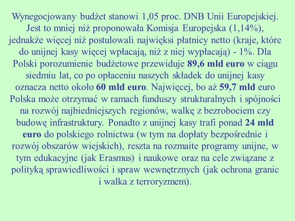 Wynegocjowany budżet stanowi 1,05 proc. DNB Unii Europejskiej.